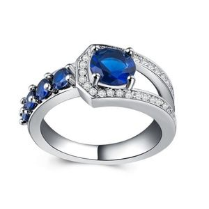 Unique  925 Silver Ring Round Cut Blue Sapphire